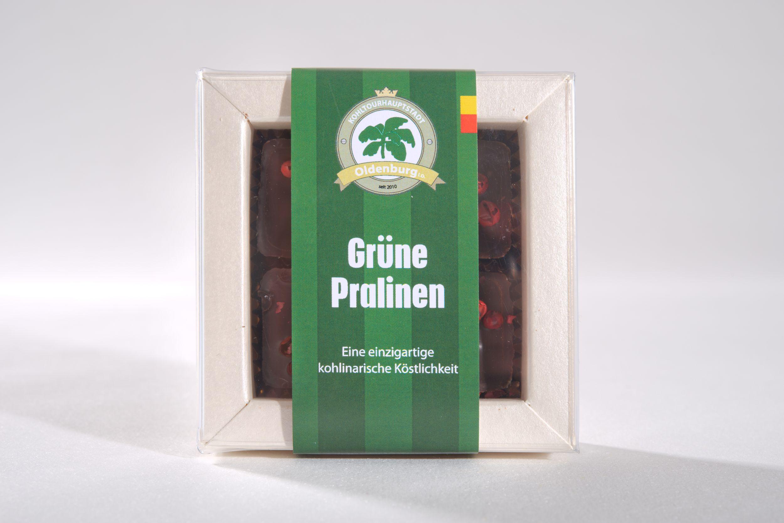 Feinste Schokoladenpralinen mit einer einzigartigen Füllung aus italienischen Grünkohl, Kuvertüre, Sahne, Butter, Weizenkorn und rosa Pfeffer- ein kohlinarischer Hochgenuss für Ihren Gaumen